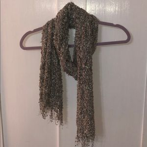 Gray knit Scarf with holographic specks throughout